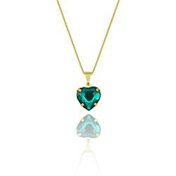 Gargantilha folheada a ouro e pingente de coração (verde) semelhante à utilizada pela personagem Sofia (O Outro Lado do Paraíso) - Clique para maiores detalhes