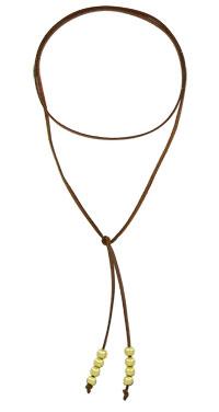 Gargantilha de couro c/ bolinhas folheadas a ouro (semelhante à utilizada pela personagem Livia - O Outro Lado do Paraíso) - Clique para maiores detalhes