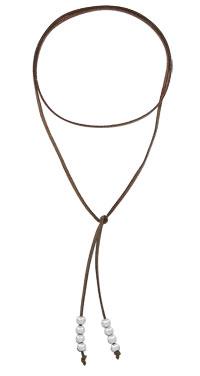 Gargantilha de couro c/ bolinhas folheadas a prata (semelhante à utilizada pela personagem Livia - O Outro Lado do Paraíso) - Clique para maiores detalhes
