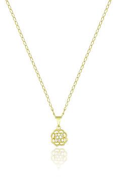 Gargantilha folheada a ouro c/ pingente em forma de flor c/ 8 pedras de zircônia - Clique para maiores detalhes
