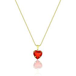 Gargantilha folheada a ouro e pingente de coração (vermelha) semelhante à utilizada pela personagem Sofia (O Outro Lado do Paraíso) - Clique para maiores detalhes