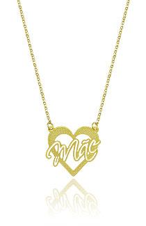 Gargantilha folheada a ouro e pingente de coração escrito Mãe - Clique para maiores detalhes