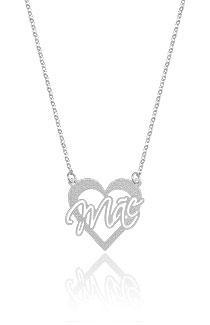 Gargantilha folheada a prata e pingente de coração escrito Mãe - Clique para maiores detalhes