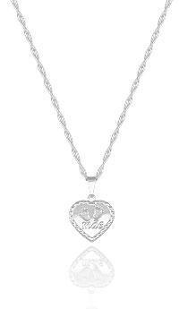 Gargantilha folheada a prata e pingente em forma de coração escrito Mãe - Clique para maiores detalhes