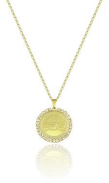Gargantilha folheada a ouro e medalha escrito a frase Deus é Fiel c/ strass - Clique para maiores detalhes