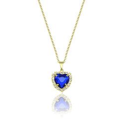 Gargantilha folheada a ouro e pingente c/ pedra acrílica de coração e strass - Clique para maiores detalhes