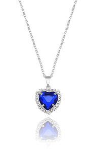 Gargantilha folheada a prata e pingente c/ pedra acrílica de coração e strass - Clique para maiores detalhes
