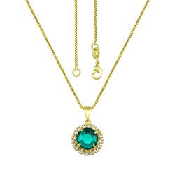 Gargantilha folheada a ouro c/ pingente de pedra acrílica rodeada por strass - Clique para maiores detalhes