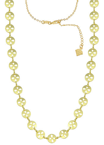 Gargantilha folheada a ouro c/ corrente e adereços redondos (semelhante ao da Clara - O Outro Lado do Paraíso)