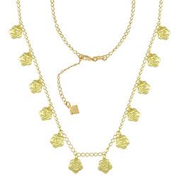 Gargantilha folheada a ouro c/ pingentes em forma de flor (semelhante ao da Clara - O Outro Lado do Paraíso) - Clique para maiores detalhes