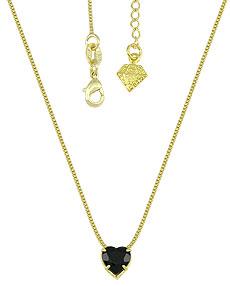 Gargantilha folheada a ouro e pingente c/ pedra acrílica em forma de coração - Clique para maiores detalhes