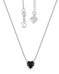 Gargantilha folheada a prata e pingente c/ pedra acrílica em forma de coração - Clique para maiores detalhes