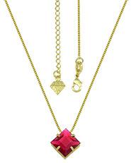 Gargantilha ponto de luz folheada a ouro c/ pedra acrílica na cor fucsia - Clique para maiores detalhes