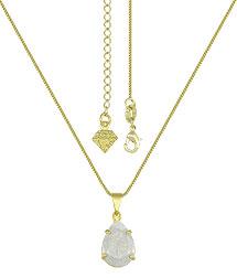 Gargantilha folheada a ouro e pingente c/ pedra Fusion em forma de gota - Clique para maiores detalhes