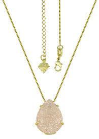 Gargantilha ponto de luz folheada a ouro c/ Pedra Fusion rosa em forma de gota - Clique para maiores detalhes