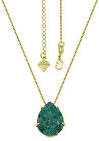 Gargantilha ponto de luz folheada a ouro c/ Pedra Fusion verde esmeralda em forma de gota - Clique para maiores detalhes