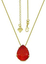 Gargantilha ponto de luz folheada a ouro c/ Pedra Fusion vermelha em forma de gota - Clique para maiores detalhes