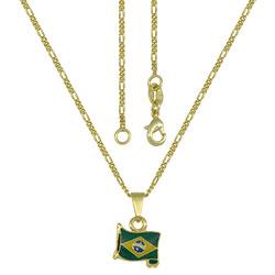 Gargantilha folheada a ouro e pingente em forma de bandeira c/ resina - Clique para maiores detalhes