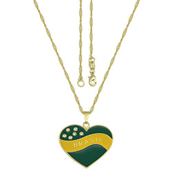 Gargantilha folheada a ouro e pingente em forma de coração nas cores da bandeira c/ resina e strass - Clique para maiores detalhes