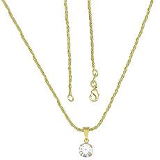Gargantilha folheada a ouro c/ Cordão Baiano e pedra de strass - Clique para maiores detalhes