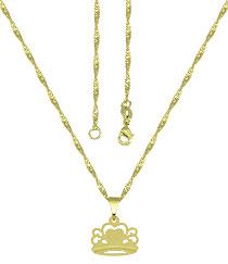 Gargantilha folheada a ouro e pingente em forma de coroa - Clique para maiores detalhes