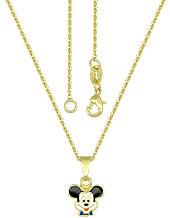 Gargantilha folheada a ouro e pingente Mickey c/ resina - Clique para maiores detalhes