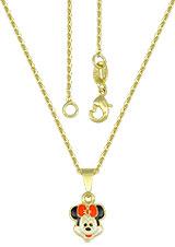Gargantilha folheada a ouro e pingente Minnie c/ resina - Clique para maiores detalhes