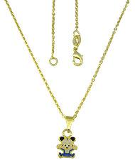 Gargantilha folheada a ouro e pingente Mickey Baby c/ resina - Clique para maiores detalhes