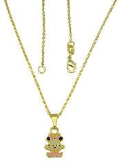 Gargantilha folheada a ouro e pingente Minnie Baby c/ resina - Clique para maiores detalhes