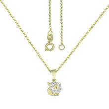 Gargantilha infantil folheada a ouro e pingente leãozinho c/ aplique de prata - Clique para maiores detalhes