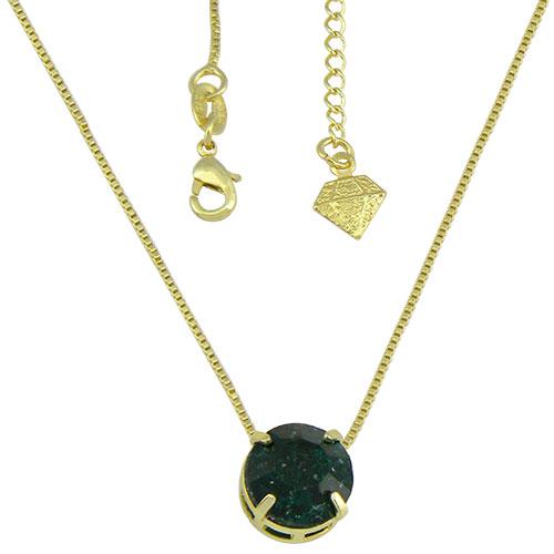 Gargantilha ponto de luz folheada a ouro c/ Pedra Fusion na cor esmeralda