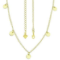 Gargantilha folheada a ouro c/ chapinhas circulares - Clique para maiores detalhes