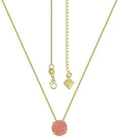 Gargantilha ponto de luz folheada a ouro c/ Pedra Fusion na cor rosê claro - Clique para maiores detalhes