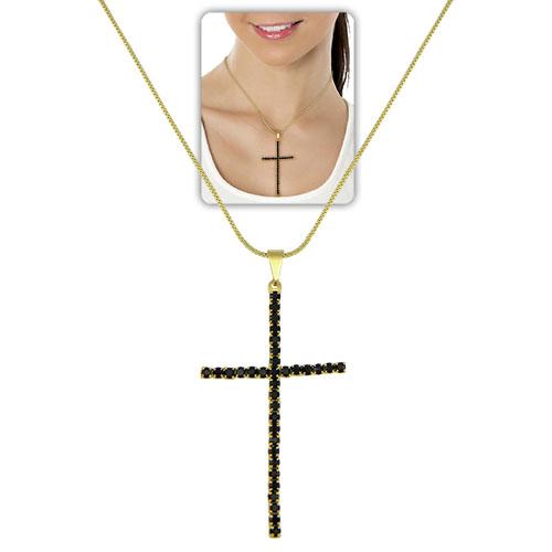 Gargantilha longa folheada a ouro c/ pingente de cruz, semelhante ao utilizado pela person. Luzia (Segundo Sol)