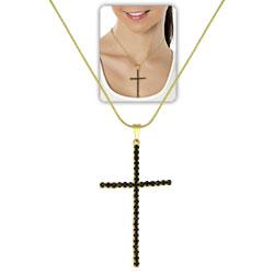 Gargantilha longa folheada a ouro c/ pingente de cruz, semelhante ao utilizado pela person. Luzia (Segundo Sol) - Clique para maiores detalhes