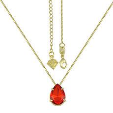 Gargantilha folheada a ouro c/ pedra em forma de gota semelhante à utilizada pela person. Rosa (Segundo Sol) - Clique para maiores detalhes