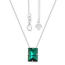 Gargantilha ponto de luz folheada a prata c/ pedra acrílica na cor esmeralda - Clique para maiores detalhes