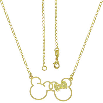 Gargantilha Mickey e Minnie folheada a ouro