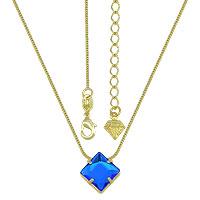 Gargantilha ponto de luz folheada a ouro c/ pedra acrílica quadrada - Clique para maiores detalhes