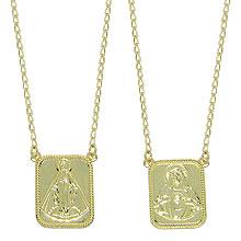 Escapulário folheado a ouro c/ medalha de N. Sra. Aparecida e Sagrado Coração de Jesus - Clique para maiores detalhes
