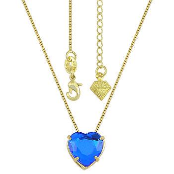 Gargantilha ponto de luz folheada a ouro c/ pedra coração acrílica
