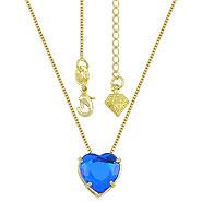 Gargantilha ponto de luz folheada a ouro c/ pedra coração acrílica - Clique para maiores detalhes