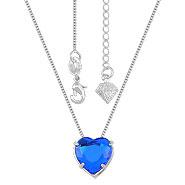 Gargantilha ponto de luz folheada a prata c/ pedra coração acrílica - Clique para maiores detalhes