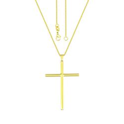 Gargantilha folheada a ouro c/ crucifixo liso - Clique para maiores detalhes
