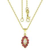 Gargantilha folheada a ouro e pingente c/ pedras de strass e acrílica - Clique para maiores detalhes