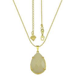 Gargantilha folheada a ouro c/ corrente de bolinhas e pedra em forma de gota - Clique para maiores detalhes
