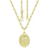 Gargantilha folheada a ouro c/ a medalha da Virgem Maria - Clique para maiores detalhes