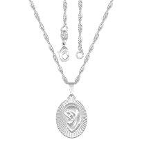 Gargantilha folheada a prata c/ a medalha da Virgem Maria - Clique para maiores detalhes