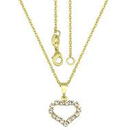 Gargantilha folheada a ouro e pingente de strass em forma de coração - Clique para maiores detalhes