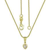 Gargantilha folheada a ouro e pingente em forma de coração c/ zircônia - Clique para maiores detalhes